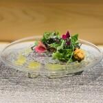 144587190 - 【前菜1】                       魚島産ヒラメ+マダコとウニのサラダ仕立て、フェンネルのコンポート、カラマンシー(柑橘類)のドレッシング