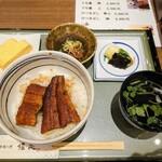 炭火手焼き鰻 堀忠 - 令和3年1月 ランチセット(うな丼+だし巻き+うざく+お吸い物+漬物) 1650円