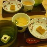 14463673 - 先付三種(ミルク豆腐バターソースかけ、茶碗蒸し明太子餡かけ、南瓜豆腐)