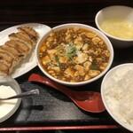 珉珉 - 麻婆豆腐定食と餃子6個