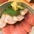 魚河岸三代目 千秋 - 210118月 東京 魚河岸三代目 千秋 天然ヒラメと中トロ丼1,500円