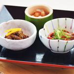 奥琵琶湖マキノ グランドパークホテル レストラン竹生 - おつまみ3種盛り