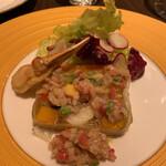 144674137 - 山梨県清里産季節野菜のテリーヌ ズワイガニのフリット添え 野菜の食感がいい。野菜それぞれの主張が濃いんです。 ズワイガニは爪の部分。蟹身たぷりでした。 酸味があるヴィネグレットソースでさわやかに。