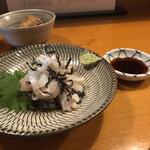 ぬる燗 - ヒラメ刺しの塩昆布和え