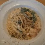 イタリア食堂 フクモト - 海老とほうれん草のカルボナーラ