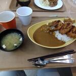 東京大学 中央食堂 - ヒレカツカレー(大盛)。白いコップに「カレーホット」を入れてみた。