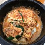 麺屋 つつみ - 石焼チーズご飯にスープ投入!