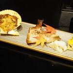 大和屋本店 - 緋扇貝と舞茸の豆乳ぐらたん 鯛かま身の柚香焼き