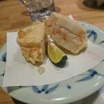 天ぷら・割鮮酒処 へそ - 大海老レンコンはさみ揚げ