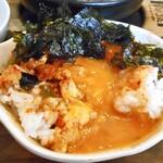 コッテジ - 牡蠣入り豆腐チゲ(激辛)(ご飯にかけて韓国海苔をトッピング)