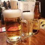 乾杯屋 - 昭和の生中は令和の大!!!400円ということで激安!!!