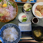 魚留 - 「平目の刺身とヒラメフライ定食」@1600 (税別)  *ヒラメフライは別写真*