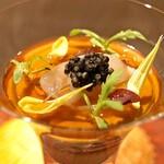 sincere - 松葉蟹や甲殻類のムースをカクテルグラスに、重ねてサステナブルなキャビアのアクセント