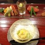 14497393 - 初日:箸附 とうもろこし茶巾寄せと前菜もろもろ