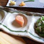 山椒の木 - 薬味・・明太子はタレをまぶしたご飯には合わないような。