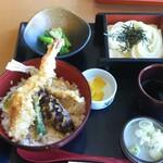 味の民芸 - 大海老天丼セット(冷うどん)