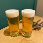 ビストリア 魚タリアン - まずは生ビールで乾杯٩꒰˘³˘꒱۶