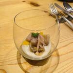 ビストリア 魚タリアン - ◆アミューズ サワラの燻製、里芋のピュレ、バルサミコ風味