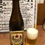 もみじ - 瓶ビール中瓶450円サッポロ