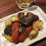 145033476 - マグロホホ肉と長芋のコリアン炒め。                       美味し。