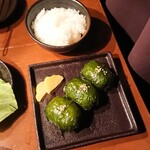 炭火焼肉 行天 - ご飯(小)150円    ゴマの葉おにぎり  350円