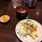 145065673 - サラダ、スープ、オレンジ