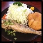 あづみ野 勝味庵 - キャベツ完食、トンカツは衣を外して、イワシはごめんなさい。