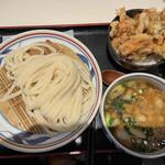 手打うどん 長谷沼 - 料理写真:肉汁つけうどん(小) かきあげ丼