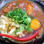こだわり麺や - カレー小 チーズ  生卵トッピング 美味☆