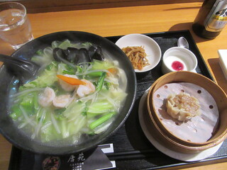 唐苑 - 「海老と青菜の塩味湯麵」セット
