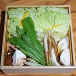 くすのき - 野菜たち  白菜、下仁田ネギ、越津ネギ、かぶら、椎茸、山ごぼう、壬生菜、柚子(香付け)