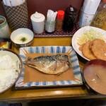 ずぼら - 鯖味噌定食+ロースハムカツ