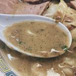145354432 - 煮干味噌チャーシュー麺(味噌を溶かした後)
