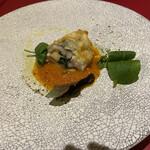 オリゾンテ - スモークチーズを包んだ穴子のフリット フレッシュトマトソース