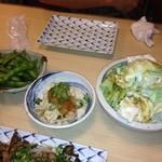 14543995 - 枝豆(294円)、とり皮ポン酢(210円)、塩ダレキャベツ(189円)