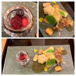 IKOI japanesecuisine - ・白子の天ぷら・舞茸天ぷら ・クワイチップス・ベリーゼリー寄せ