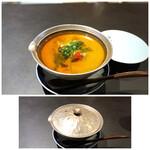 食堂 ぎんみ - ◆長芋を使用した茶碗蒸し、梅肉、ポン酢の餡・・器が素敵。 長芋を使用されていますのでねっとり感を感じます。茶碗蒸しの中には「小海老」などが入り、 ポン酢の軽い酸味を感じる餡と共に頂くと美味しい。