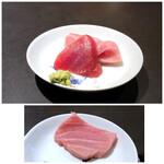 食堂 ぎんみ - ◆本鮪(長崎)、大トロと赤身・・大トロが登場して、ビックリ。 赤身も美味しいですが、大トロは上品な脂を感じ美味しいこと。