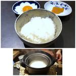 食堂 ぎんみ - ◆炊きたて土鍋ご飯・・これ一人分。お米は京都の有名店「八代目儀兵衛」さんが使用されているお米「翁霞」だそう。 つやつやで甘味を感じて、美味しい。