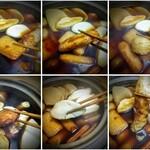 蒲菊本店 - 上段左から、角揚げ、ごぼう巻き、お団子、下段左から、お好み揚げ、白はんぺん、ちくわ。どれもつるふわ食感!