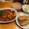 キッチン・オバサン - 料理写真:オムハヤシ+いわしフライ2枚