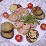 おもてなしどころ 光亭 - 白身魚のムニエル・・・3人前 夜のコース料理の一品(要予約)