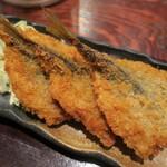 炉端かば - ・「アジフライ3枚定食(¥850)」のアップ。