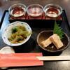 """禅味 寿 - 料理写真:""""日本酒3種&小鉢2品"""""""