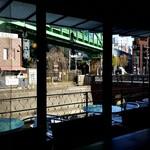 肉バルブッチャーズ 八百八 - 窓の下には神田川