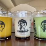 マーロウ - 左から、かぼちゃ、何とかと言う複雑な名前の紅茶、 抹茶… ガラス容器はHARIO製特注の耐熱ビーカー!