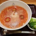 おかゆと麺のお店 粥餐庁 - 【2021/2】海老とチーズのトマトのおかゆ+青菜