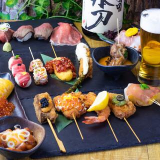 【串揚げ・肉寿司が満載】飲み放題付きコース3000円~!