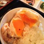 韓国家庭料理 唐辛子 - 玉子の半熟具合はこれくらい