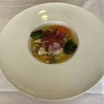 ソーサリート - メインの鱈のグリルオレンジソース